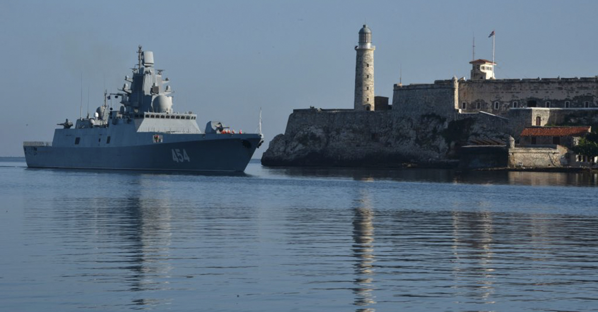 The Russian Federation Navy Admiral Gorshkov frigate arrives to Havana's port on June 24, 2019. - A Russian naval detachment, led by the frigate Admiral Gorshkov, arrived in Havana on Monday in times of high tension between the island and the United States. (ADALBERTO ROQUE/AFP/Getty Images)