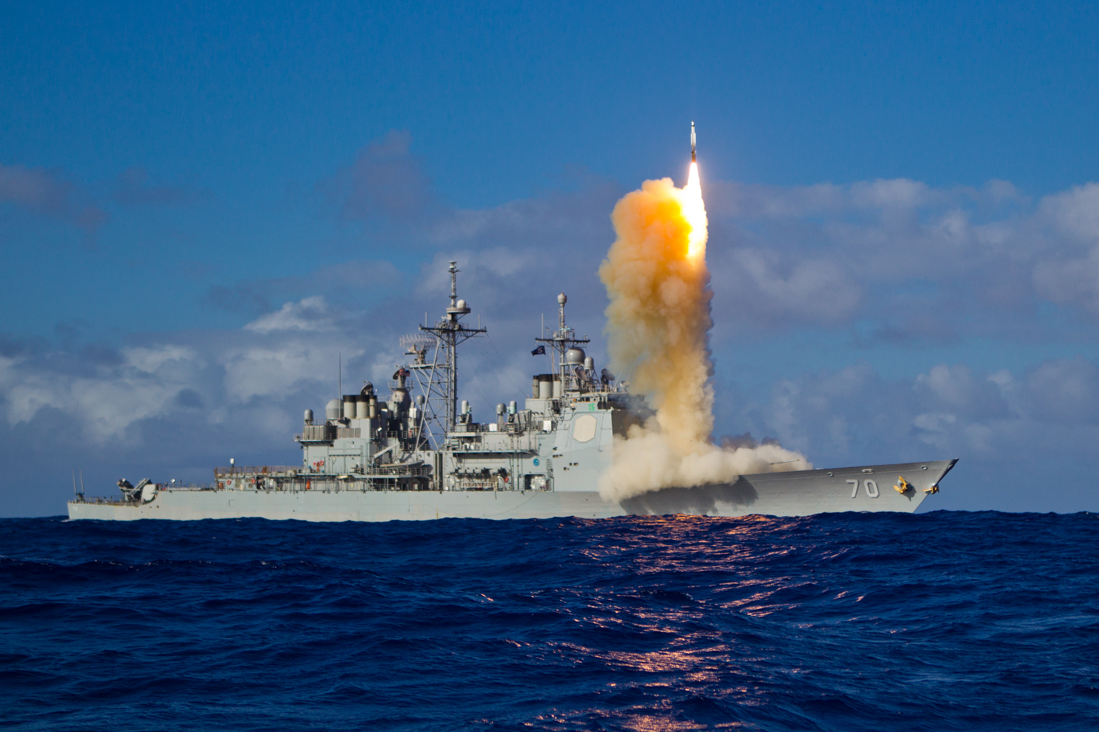 South Korean ally the United States already has a ship-based SM-3 interceptor, shown launching from the U.S. Navy guided-missile cruiser Lake Erie. (U.S. Navy)