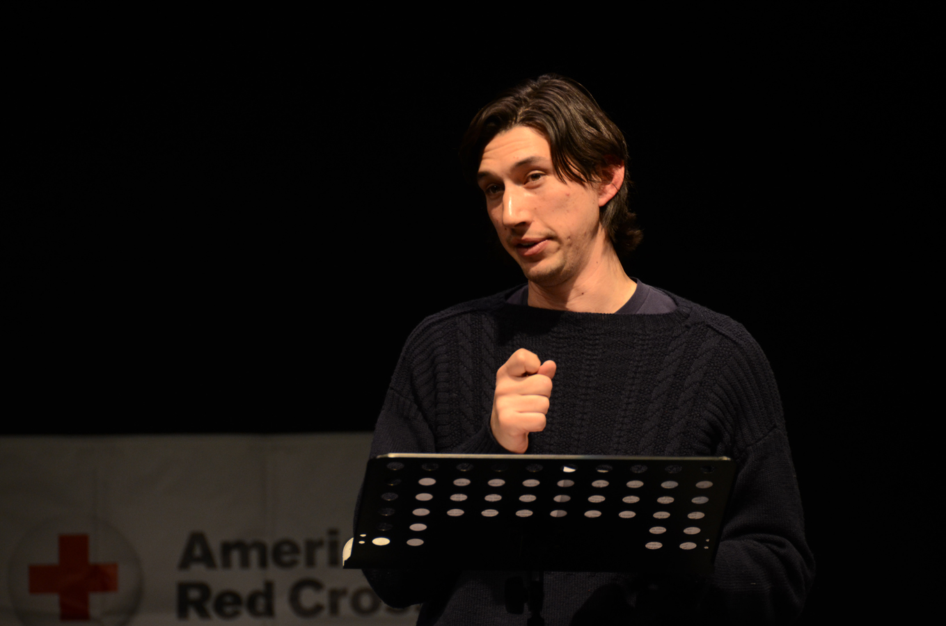 Adam Driver performs a monologue during an Arts in the Armed Forces production at Grafenwoehr Performing Arts Center, Germany, in 2013. (Molly Hayden/Army)