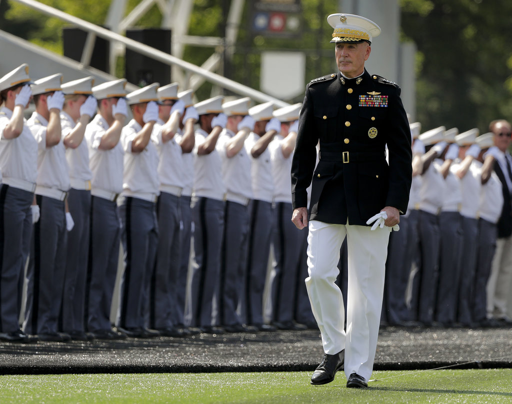 General Joseph F. Dunford Jr., chairman of the Joint Chiefs of Staff, enters Michie Stadium to give the graduation addresss during graduation ceremonies at the United States Military Academy, Saturday, May 26, 2018, in West Point, N.Y. (Julie Jacobson/AP)
