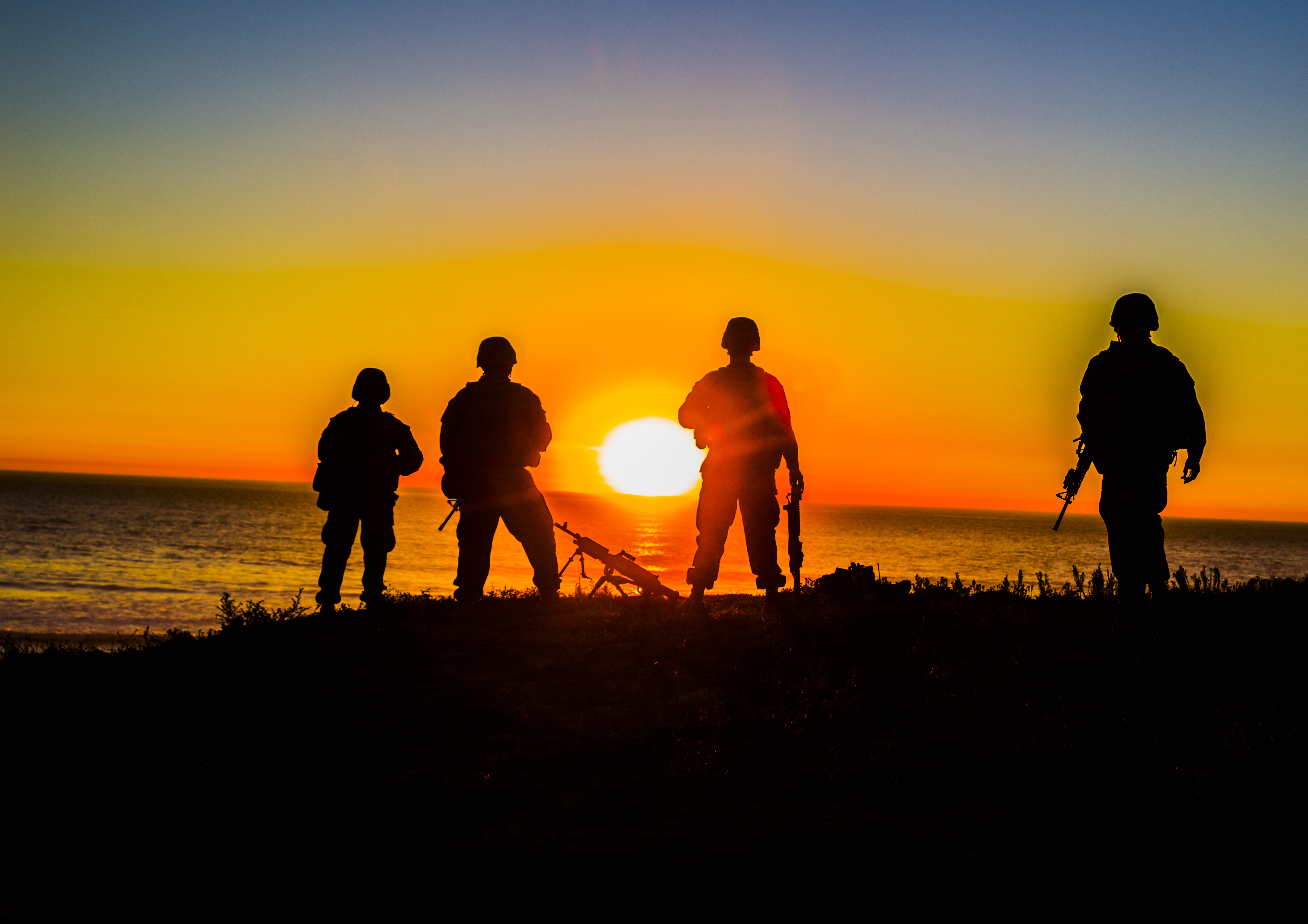 U.S. Marines with Combat Logistics Battalion 11, Headquarters Regiment, 1st Marine Logistics Group, overlook the beach during a field exercise at Camp Pendleton, Calif., Dec. 12, 2017. U.S. Marine Corps photo by Lance Cpl. Adam Dublinske