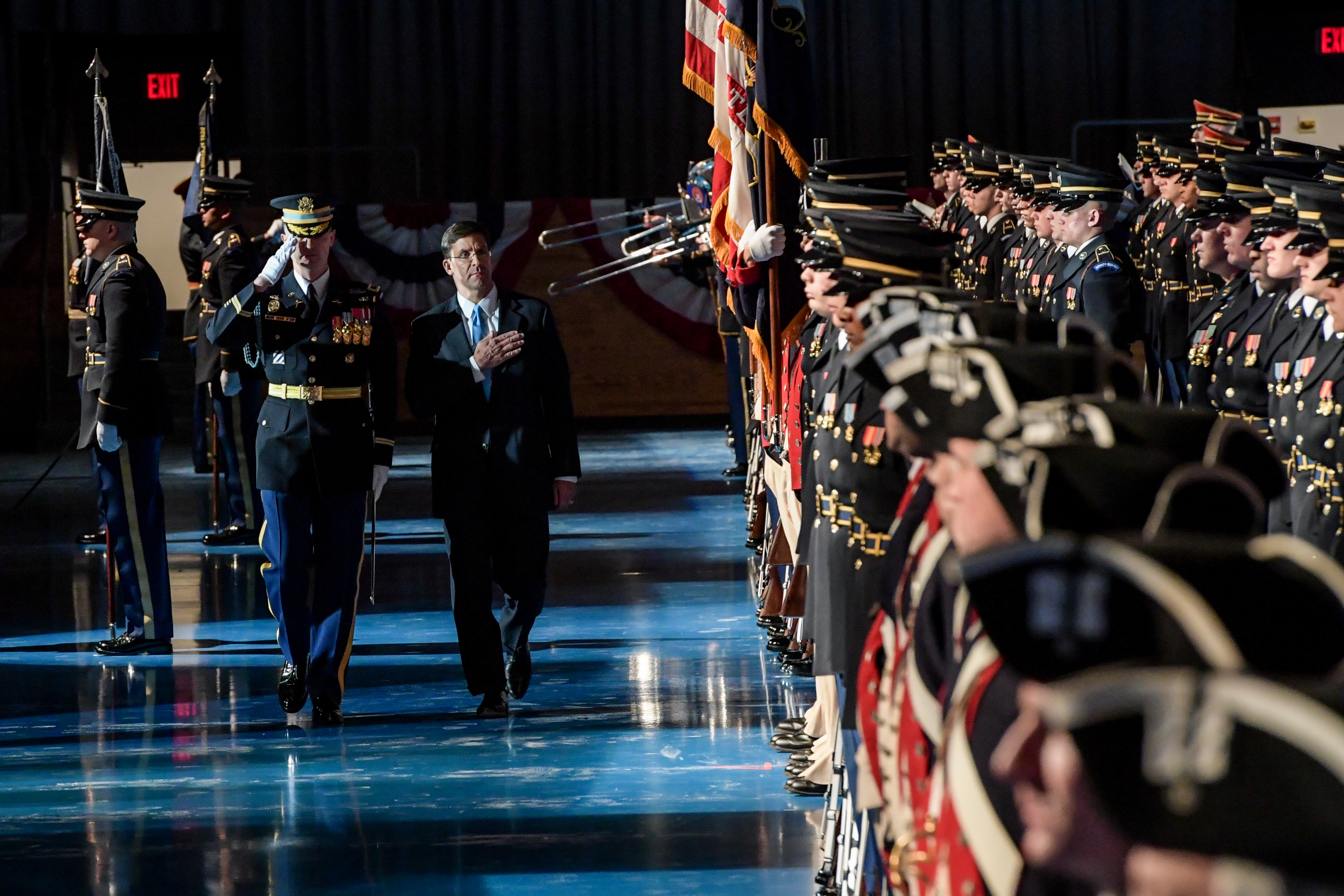 Secretary of the Army Dr. Mark T. Esper attends an Army Full Honors Arrival Ceremony hosted by the Chief of Staff of the U.S. Army Gen. Mark A. Milley at Conmy Hall on Joint Base Myer-Henderson Hall, Arlington, Virginia, Jan. 5, 2018. (U.S. Army photo by Spc. Anna Pol)