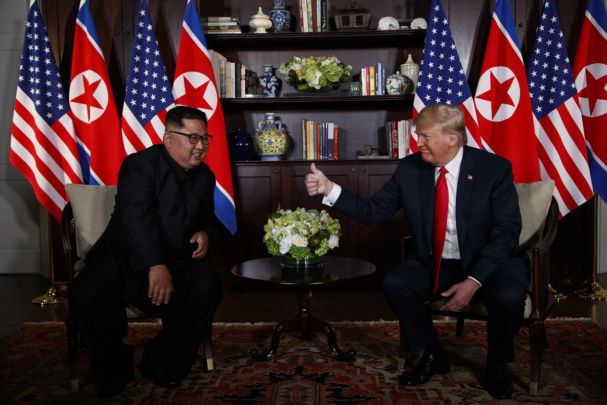 President Donald Trump meets with North Korean leader Kim Jong Un June 12, 2018, on Sentosa Island, Singapore. (Evan Vucci/AP)