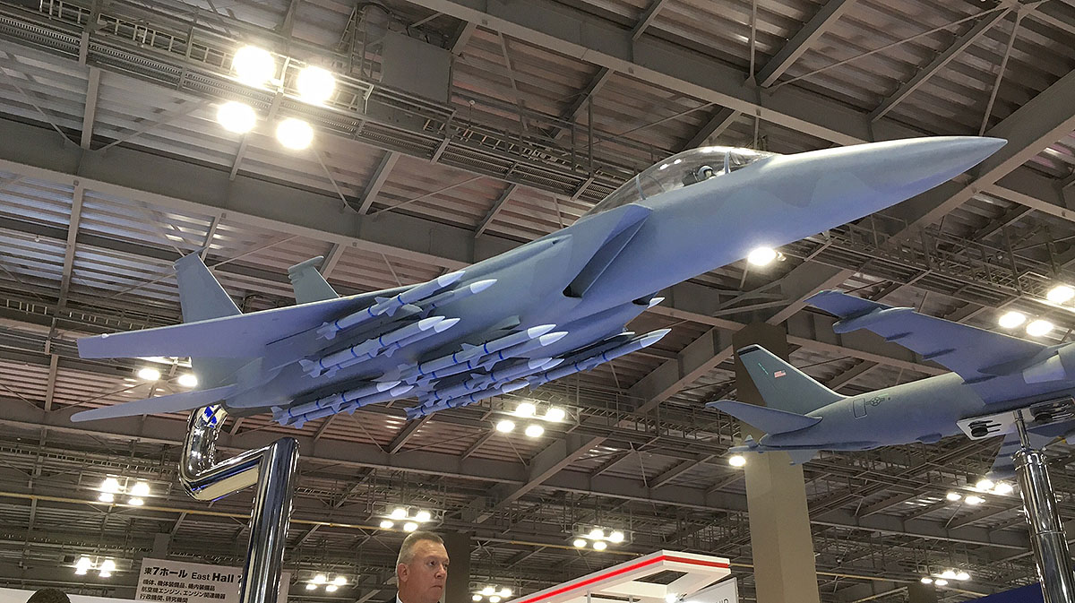 Boeing showcased a model of its F-15 Advanced Eagle at the Japan International Aerospace Exhibition held in Tokyo in late November. The aircraft was carrying 18 medium-range air-to-air missiles. Japan is planning to upgrade its F-15Js through the U.S. Foreign Military Sales program with new electronic warfare capabilities, radar, the ability to carry more missiles and the integration standoff land-attack missiles. (Mike Yeo/Staff)