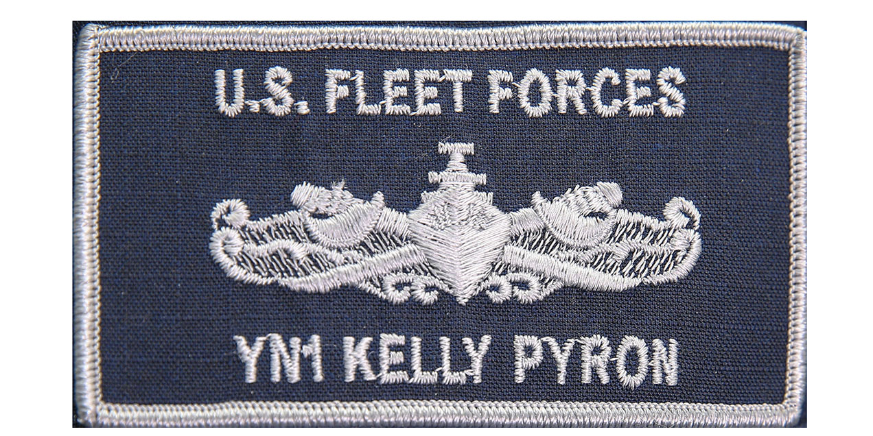 The name patch including a warfare device with hook-and-loop backing is will be tested. (MC2 Michael Fiorillo/Navy)