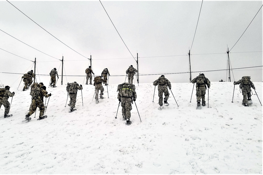 Students in Cold-Weather Operations Course 19-01 practice snowshoeing at a training area Dec. 6, 2018, on the Fort McCoy, Wis., cantonment area. (Army)