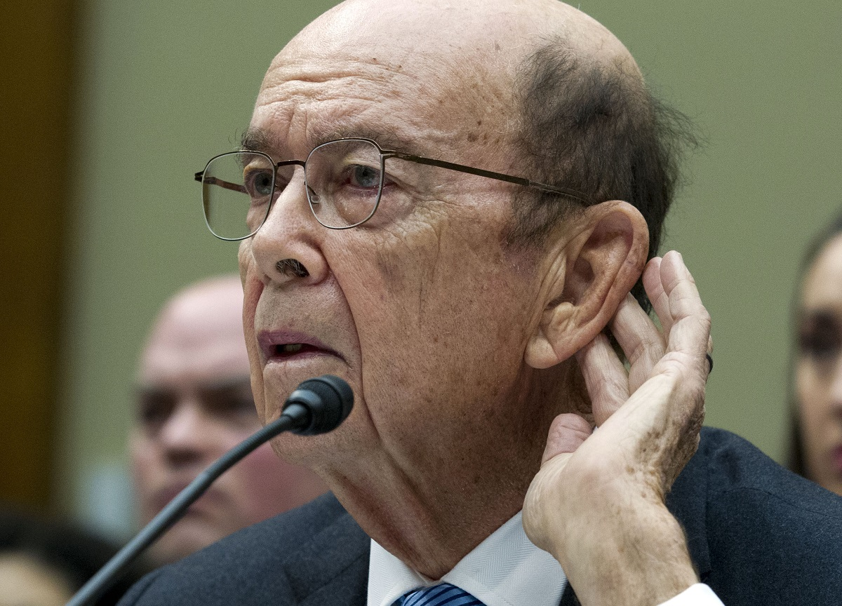 In this March 14, 2019 photo, Commerce Secretary Wilbur Ross testifies during the House Oversight Committee hearing on Capitol Hill in Washington. New evidence paints a