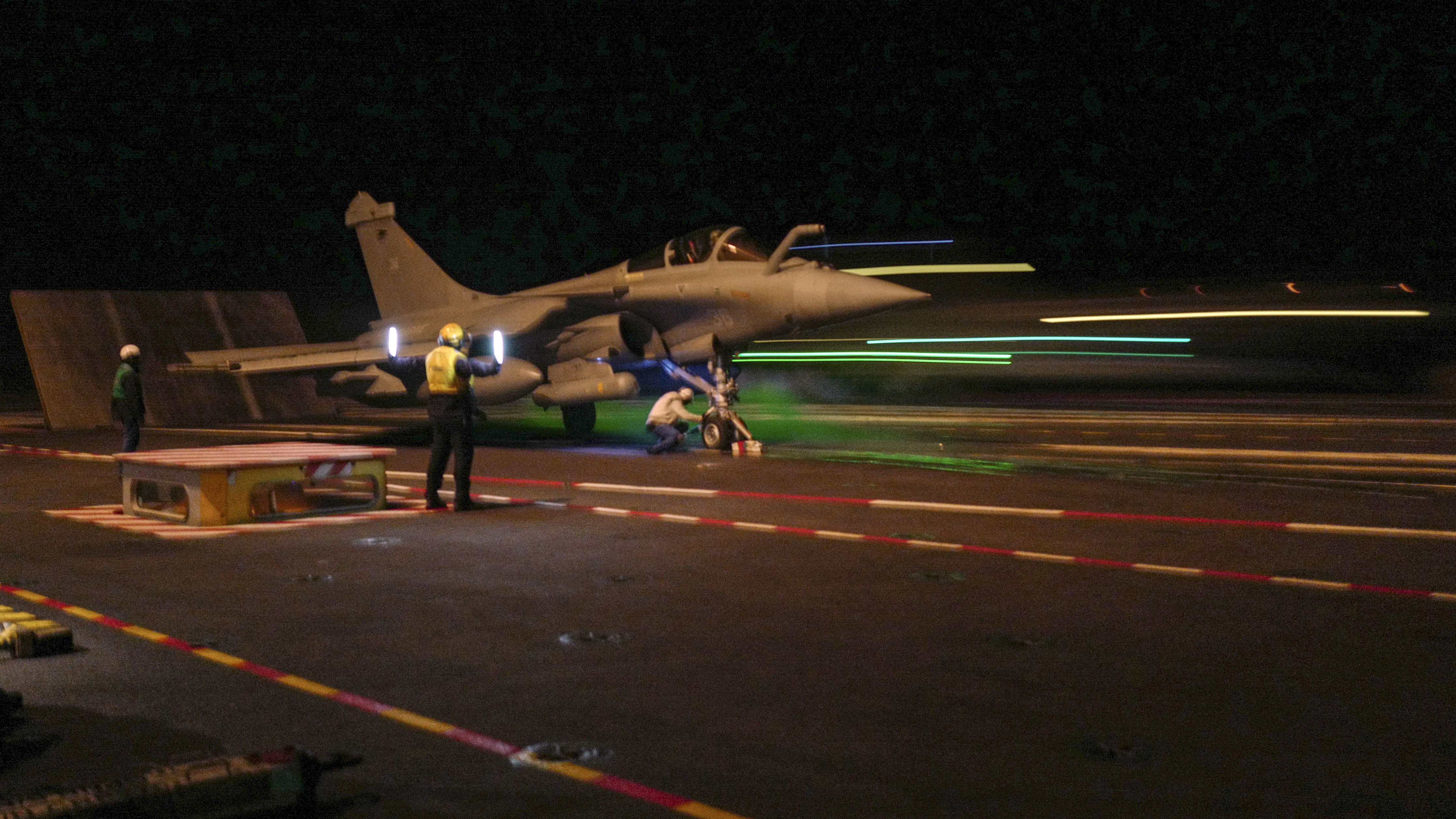 A Rafale fighter jet takes off from the carrier