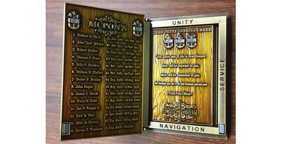Interior detail image from the Inspector General Report of the Charge Book Vessel Challenge Coin then MCPON Steven Giordano failed to report to Navy officials. (Navy)