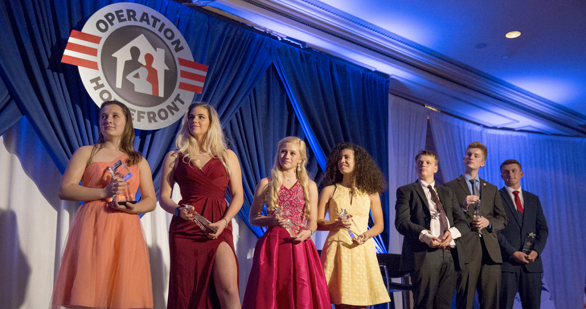 2018 Operation Homefront Military Child of the Year recipients. From left: Shelby Barber, Innovation award; Rebekah Paxton, Army; Isabelle Richards, Navy; Eve Glenn, Air Force; Joshua Frawley, Marine Corps; Roark Corson, Coast Guard; Aaron Hall, National Guard. (Dustin Diaz/Staff)