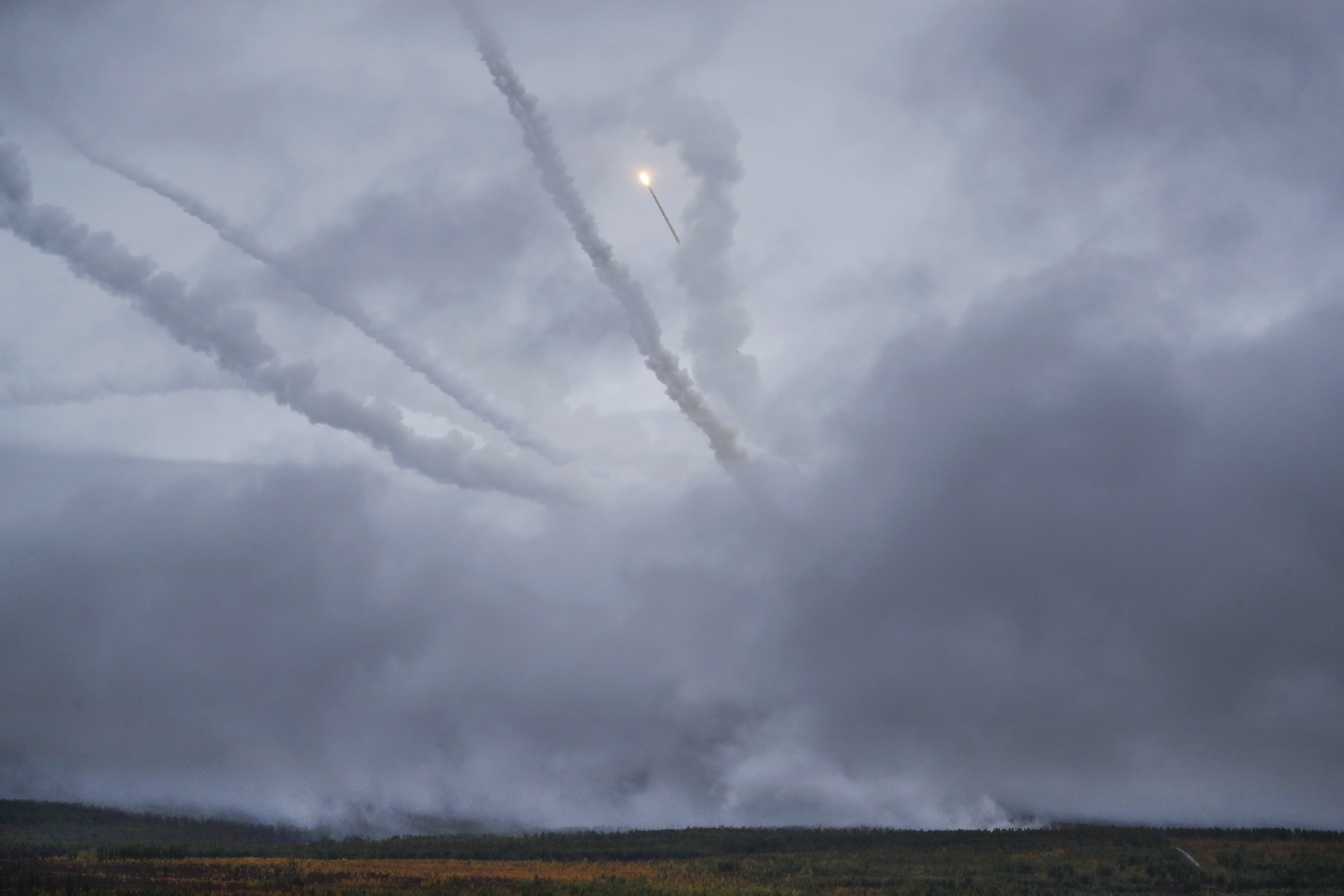 An air defense missile system flies during a military exercises on training ground