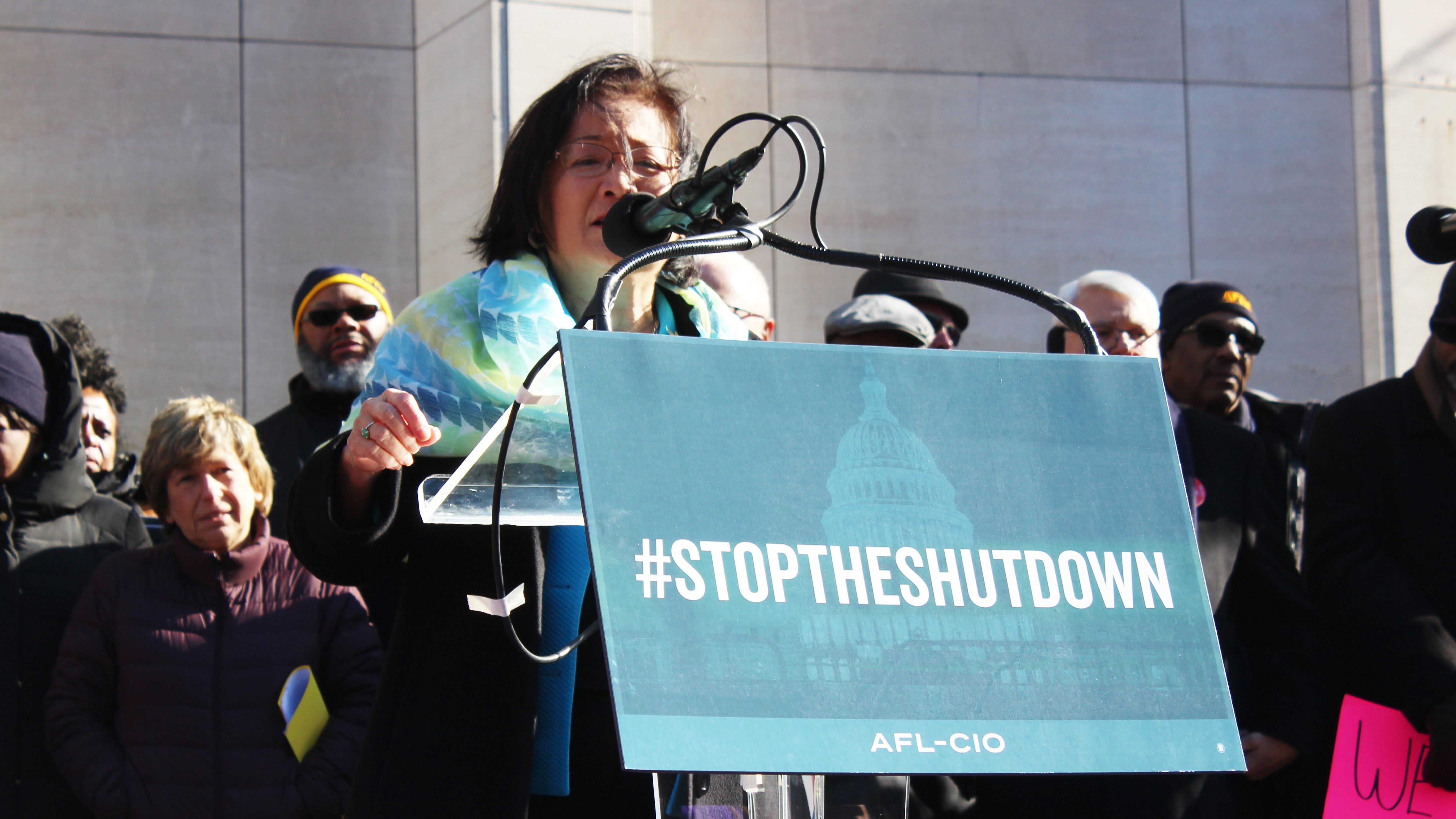 Sen. Mazie , D-Md., speaks to federal employees gathered outside the AFL-CIO headquarters about the partial government shutdown. (Jessie Bur/Staff)