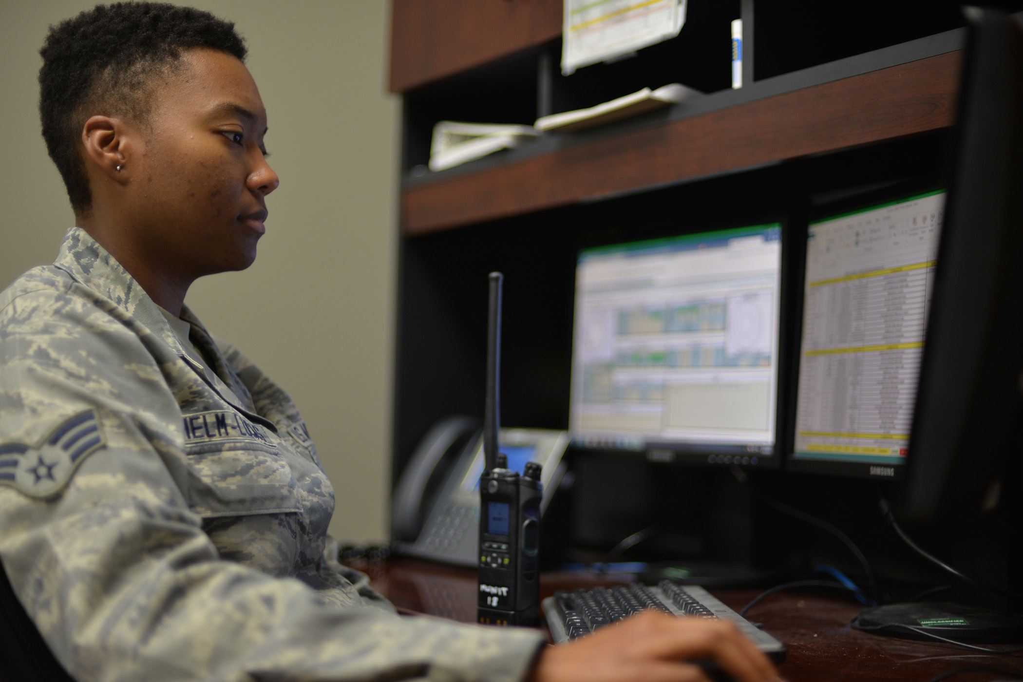 Senior Airman Jasmine Helm-Lucas working with data in June 2017 at Malmstrom Air Force Base in Montana. (Airman 1st Class Daniel Brosam/Air Force)