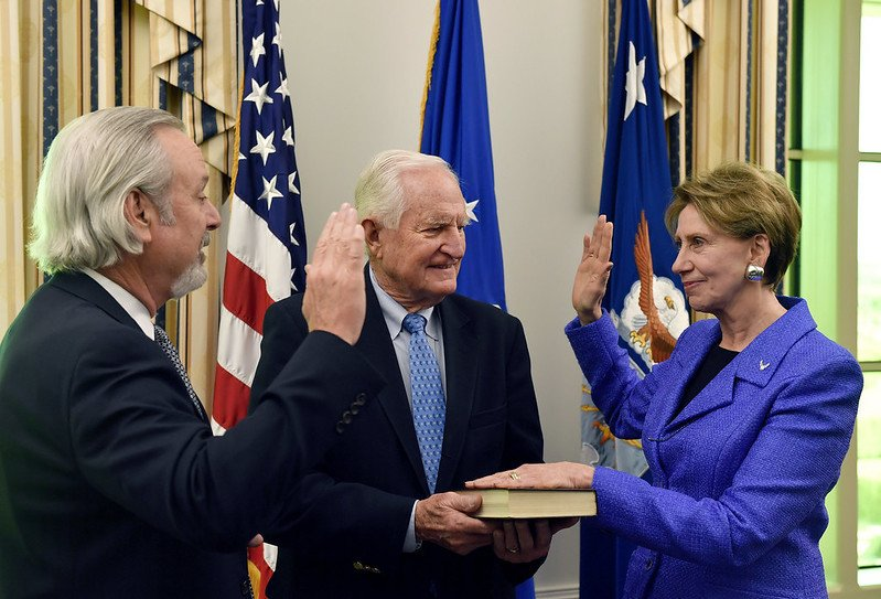 Barbara Barrett is sworn in as the 25th secretary of the Air Force. (Air Force)