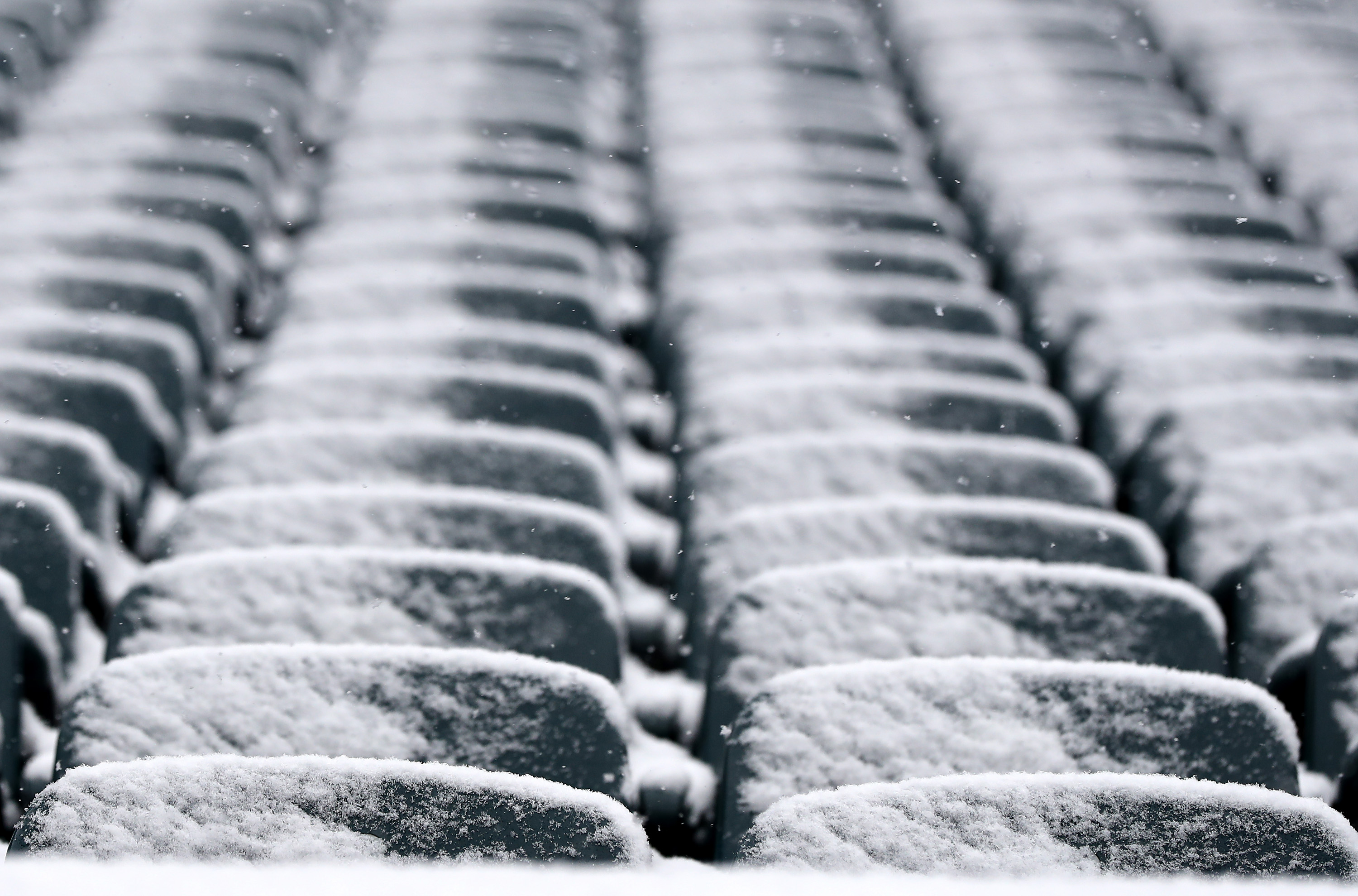Snow covers the seats before Saturday's Army-Navy game in Philadelphia. (Elsa/Getty Images)