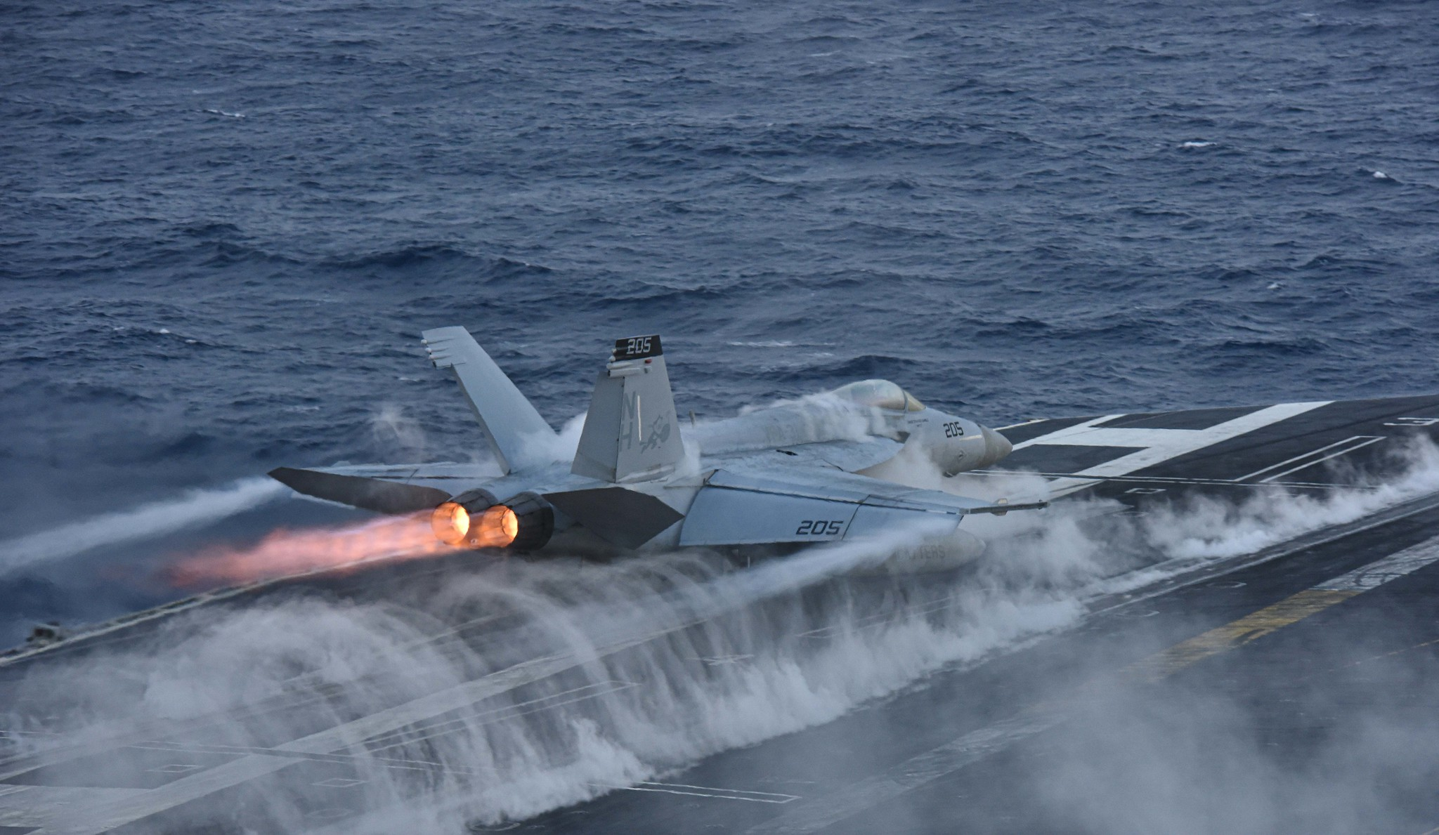 An F/A-18E Super Hornet launches from the flight deck of the aircraft carrier USS Theodore Roosevelt (CVN 71) on Dec. 12, 2019, in the Pacific Ocean. (Mass Communication Specialist 2nd Class Pyoung K. Yi/Navy)