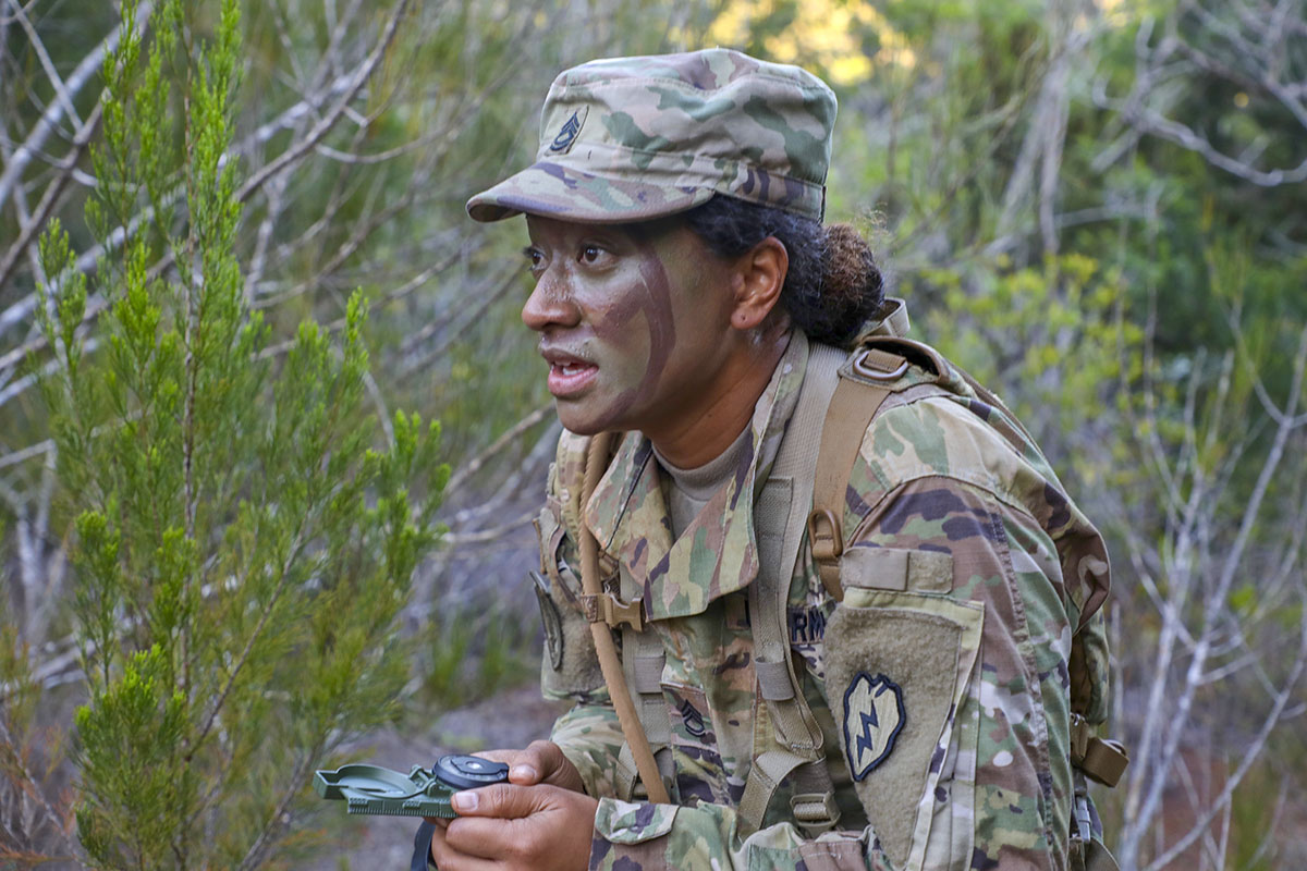 SCHOFIELD BARRACKS, Hawaii Ð Soldiers from the 25th Infantry Division were tested on their skills by taking on the Pre-Ranger Course land navigation course April 9, during the Tropic Lightning Best Warrior Competition. The Tropic Lightning Best Warrior Competition is a weeklong event that will test Soldiers competing on the overall physical fitness, warrior tasks and battle drill, and professional knowledge. (U.S. Army photo by Sgt. Ian Ives, 25th Sustainment Brigade Public Affairs /Released).