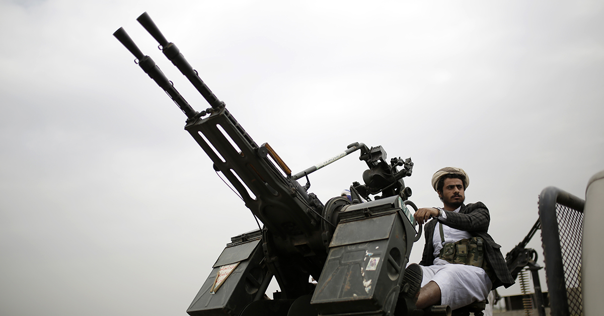 A Houthi Shiite rebel mans a machine gun mounted on a military truck during a gathering aimed at mobilizing more fighters for the Houthi movement, in Sanaa, Yemen, Thursday, Aug. 1, 2019. The conflict in Yemen began with the 2014 takeover of Sanaa by the Houthis, who drove out the internationally recognized government. Months later, in March 2015, a Saudi-led coalition launched its air campaign to prevent the rebels from overrunning the country's south. (AP Photo/Hani Mohammed)