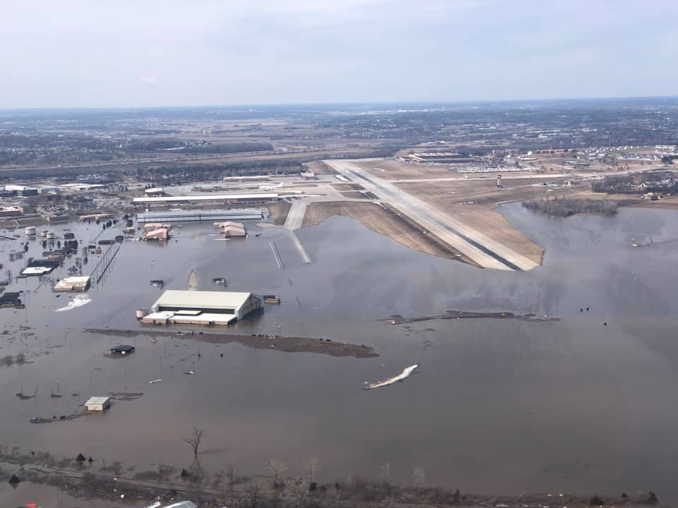 Floodwaters from the Missouri River overtook a large portion of the airfield at Offutt Air Force Base in Nebraska over the weekend. At least nine aircraft were evacuated. (Air Force)