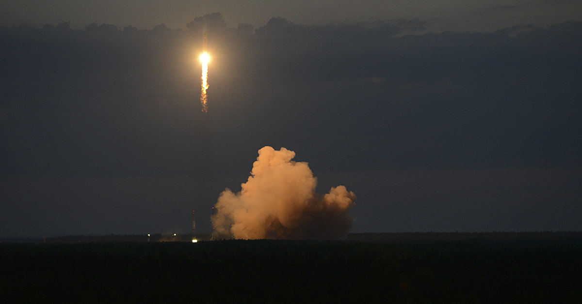 A Soyuz-2.1b rocket with a GLONASS satellite blasts off from the Plesetsk launch pad in northwestern Russia in June 2018. (Russian Defence Ministry Press Service via AP)