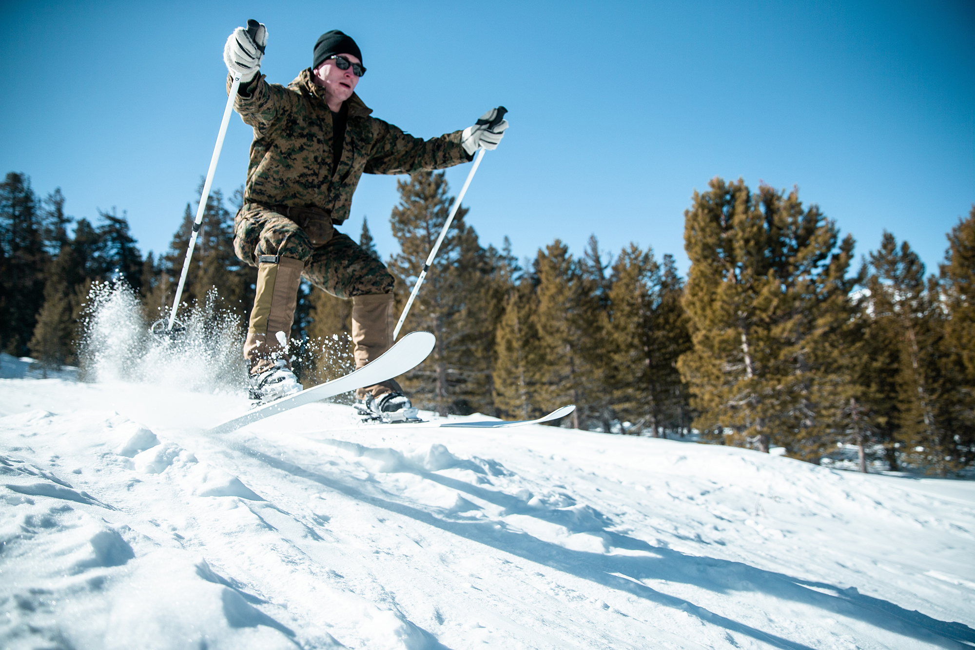 A Marine conducts a skiing-competency training event during Mountain Exercise 2-20 aboard Mountain Warfare Training Center in Bridgeport, Calif., Feb. 12, 2020. (Lance Cpl. Patrick King/Marine Corps)