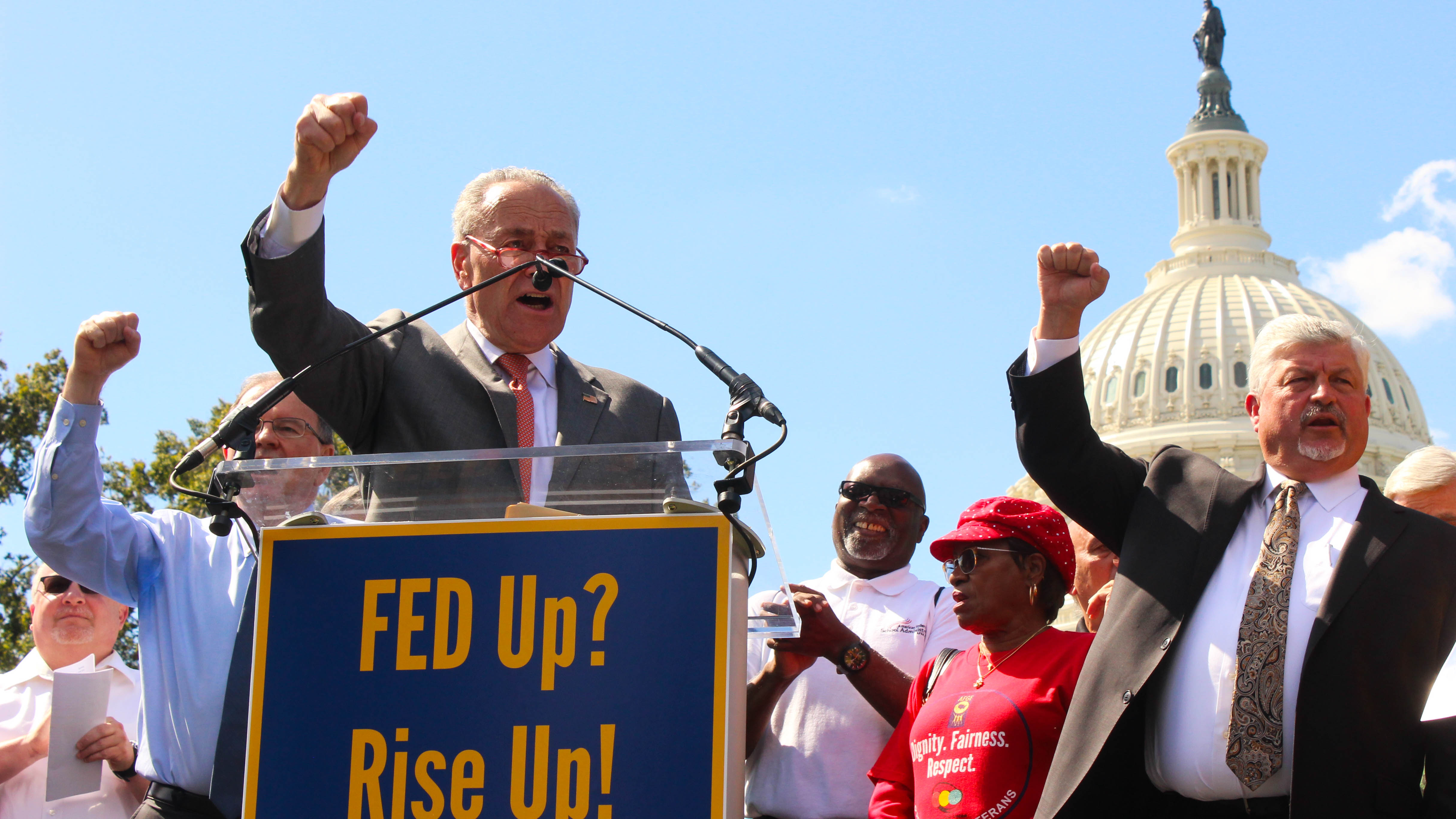 Sen. Chuck Schumer, D-N.Y., speaks to union protesters outside the U.S. Capitol building. (Jessie Bur/Staff)