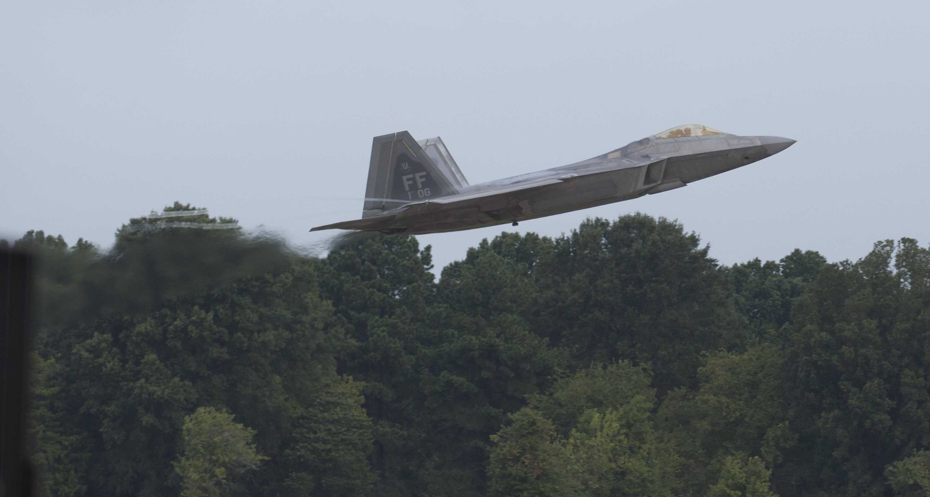An F-22 Raptor jet clears the runway after takeoff at Langley Air Force Base on Wednesday, Sept. 4, 2019.