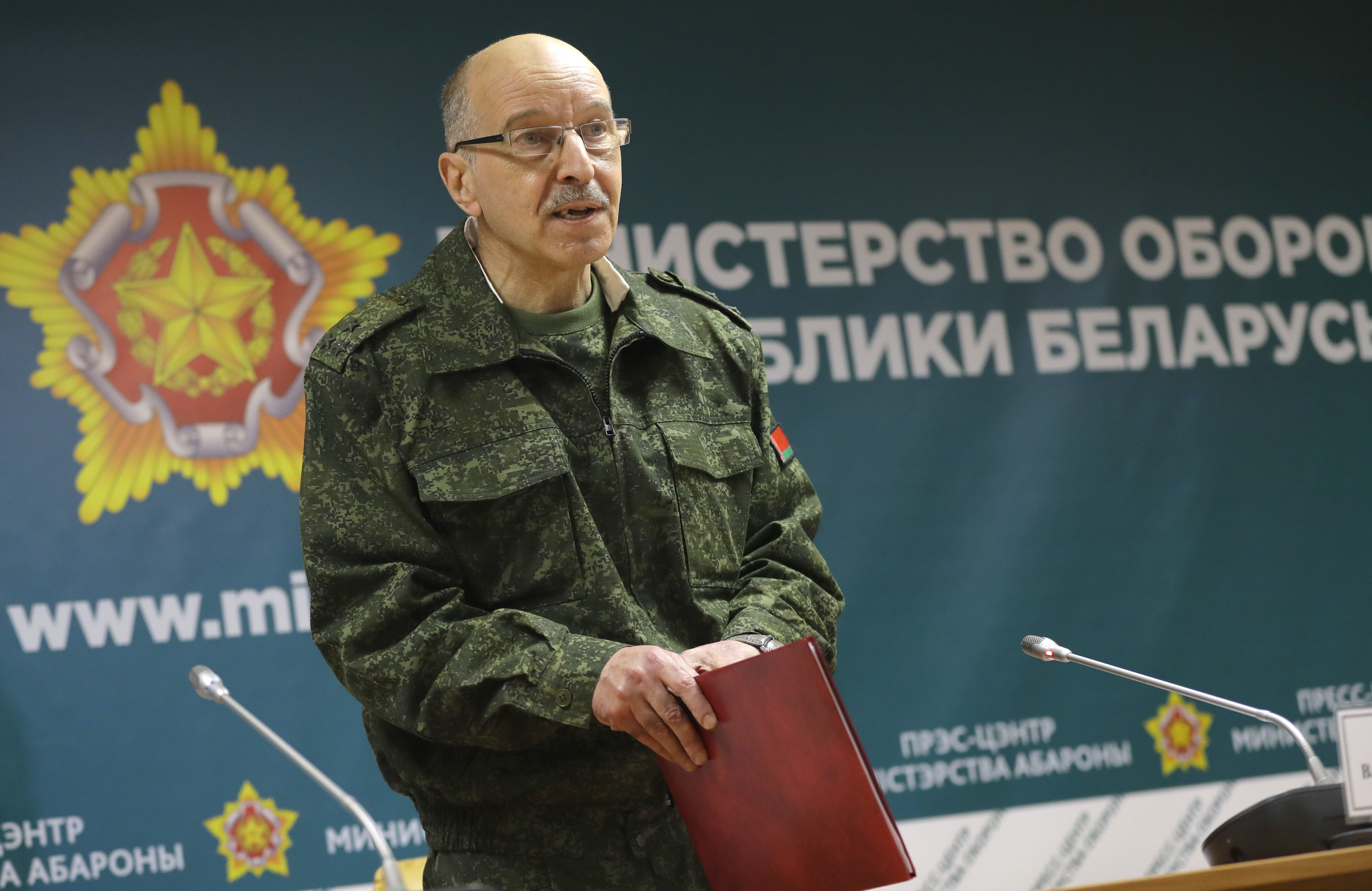 The official representative of the Belarusian Ministry of Defence, Col. Vladimir Makarov, addresses the media during a briefing in Minsk, Belarus, on Sept. 14, 2017. Zapad involves thousands of troops, tanks and aircraft. (Sergei Grits/AP)