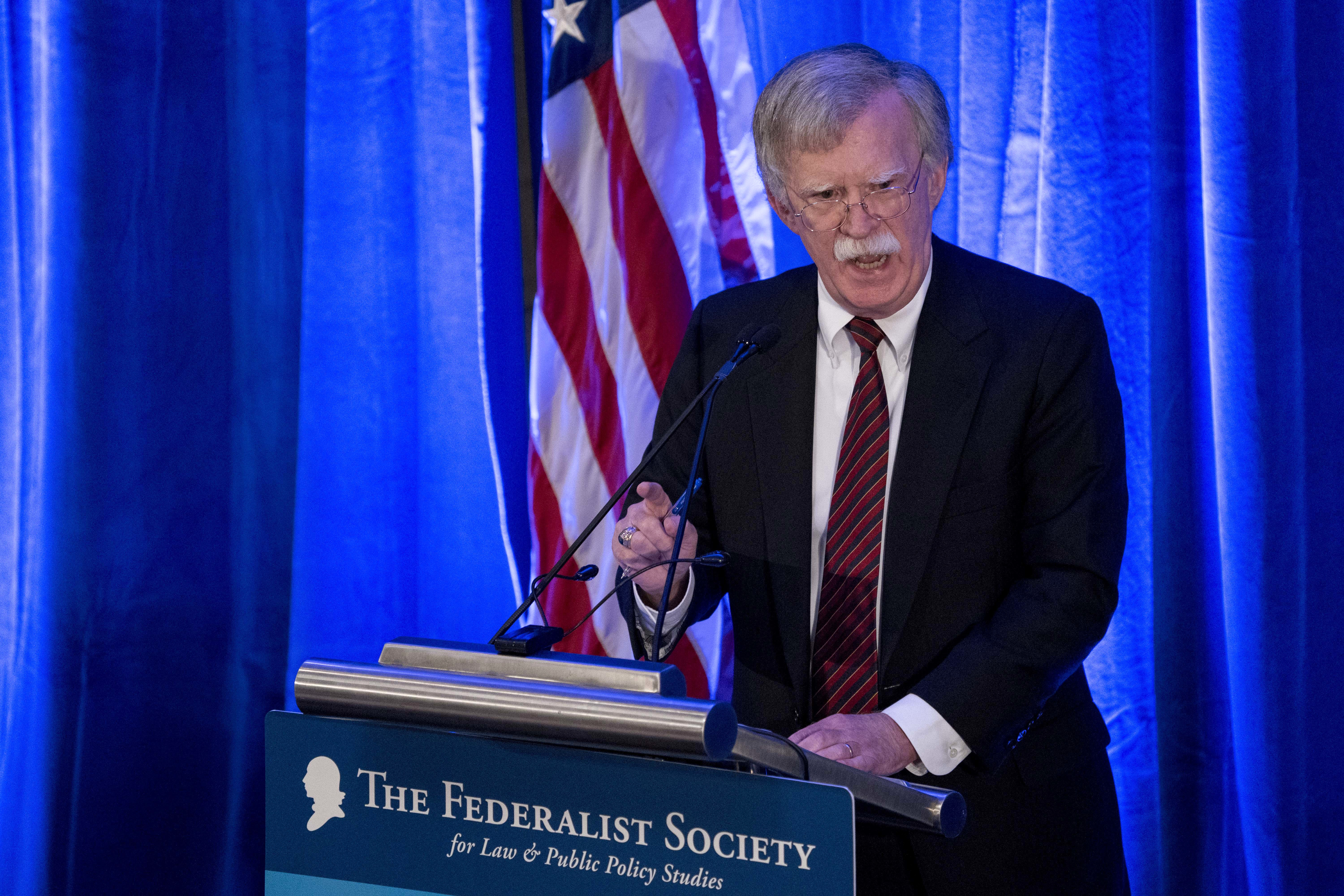 National security adviser John Bolton speaks at a Federalist Society luncheon at the Mayflower Hotel on Sept. 10, 2018, in Washington. (Andrew Harnik/AP)