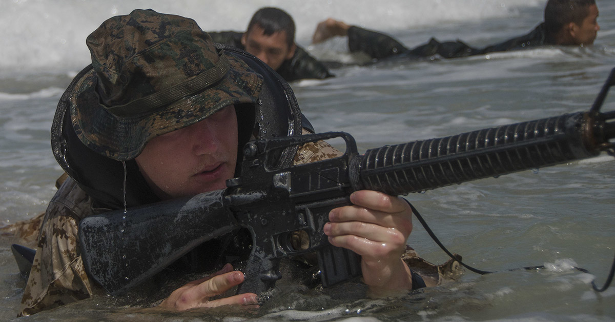 Lance Cpl. Mathew Akerman, conducts scout swimmer operations with Royal Thai Marines in support of Cooperation Afloat Readiness and Training (CARAT) Thailand 2018. (MC3 Tristin Barth/Navy)