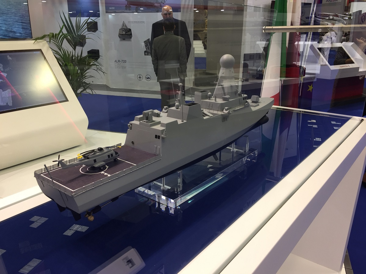 A model of the corvette for Qatar's Navy at Fincantieri's booth at DIMDEX on March 14, 2018. (Chirine Mouchantaf/Staff)