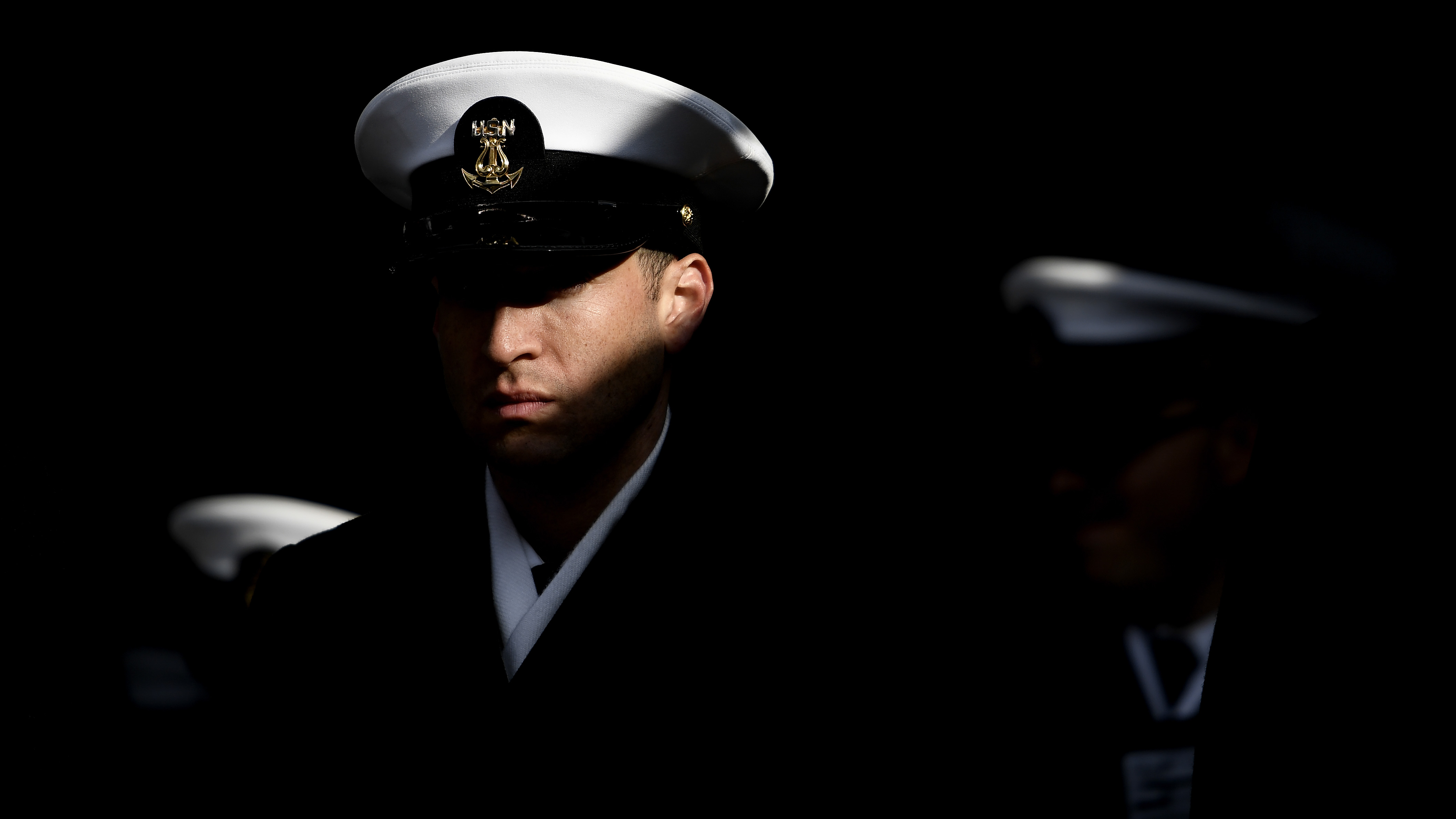 A Navy Cadet waits in the tunnel prior to marching on to the field before the start of the game against Army Black Knights at Lincoln Financial Field on December 08, 2018 in Philadelphia, Pennsylvania. (Photo by Sarah Stier/Getty Images)