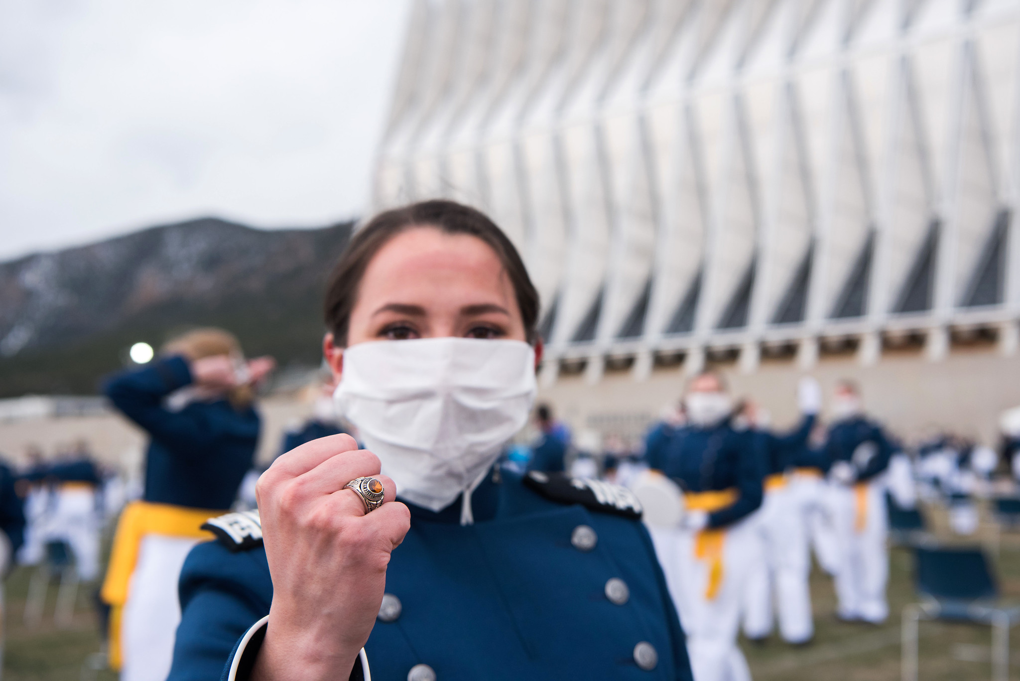 The U.S. Air Force Academy Class of 2020 graduation ceremony in Colorado Springs, Colo., was held April 18, 2020. Nine-hundred-sixty-seven cadets crossed the stage to become the Air Force/Space Force's newest second lieutenants. (Trevor Cokley/Air Force)