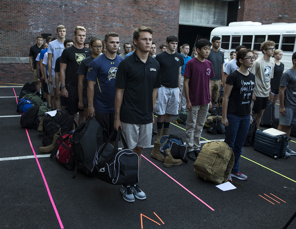 More than 1,200 new cadets wait in line outside Eisenhower Hall with their families as they begin their four-year journey at the U.S. Military Academy at West Point on July 2, 2018. (Michael Lopez/Army)