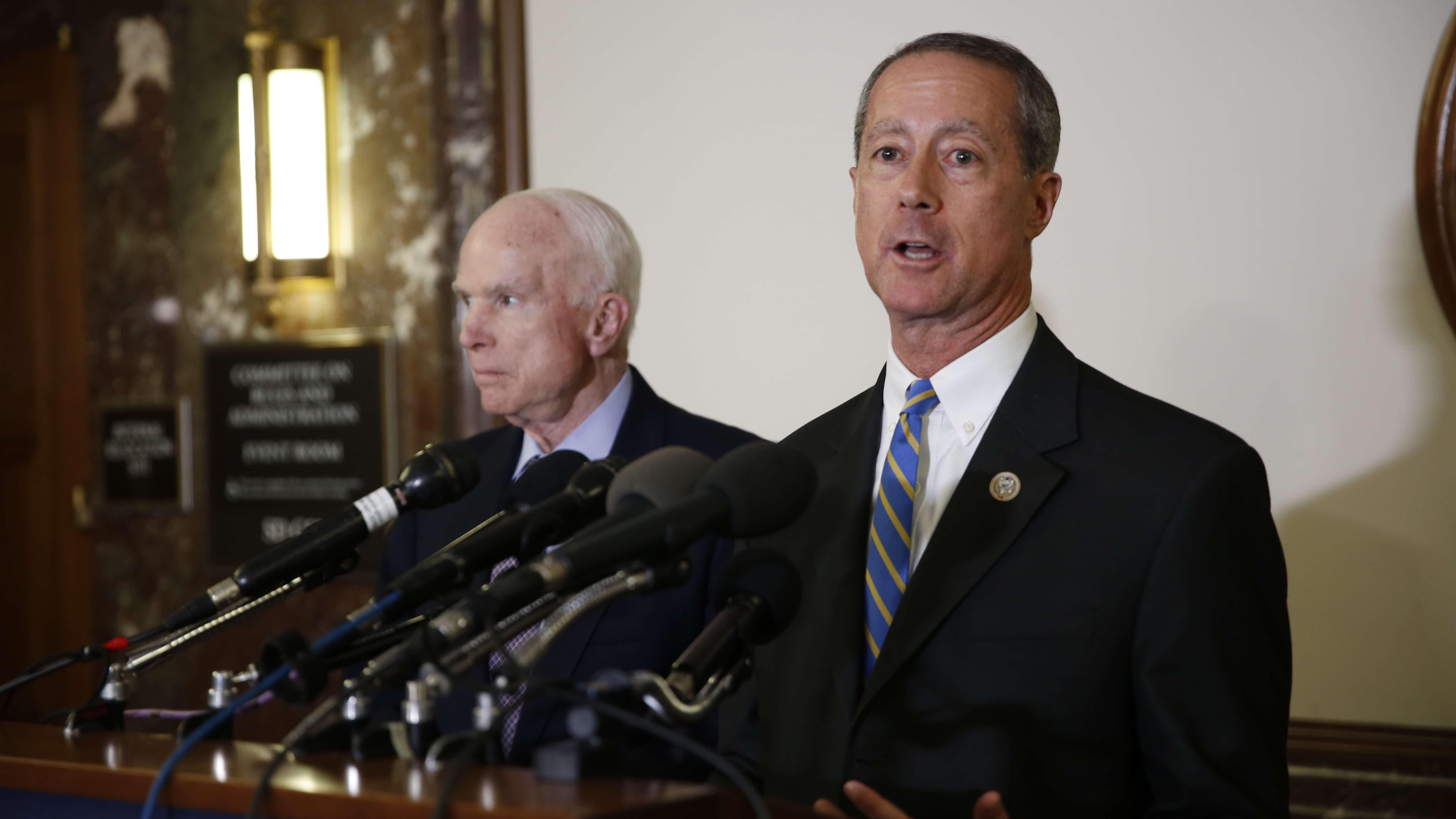 Rep. Mac Thornberry, R-Texas, and Sen. John McCain, left, R-Ariz., speak with reporters at the start of meeting between the Senate and House Armed Services committees on Oct. 25, 2017, in Washington, D.C. (Ben Murray/Staff)