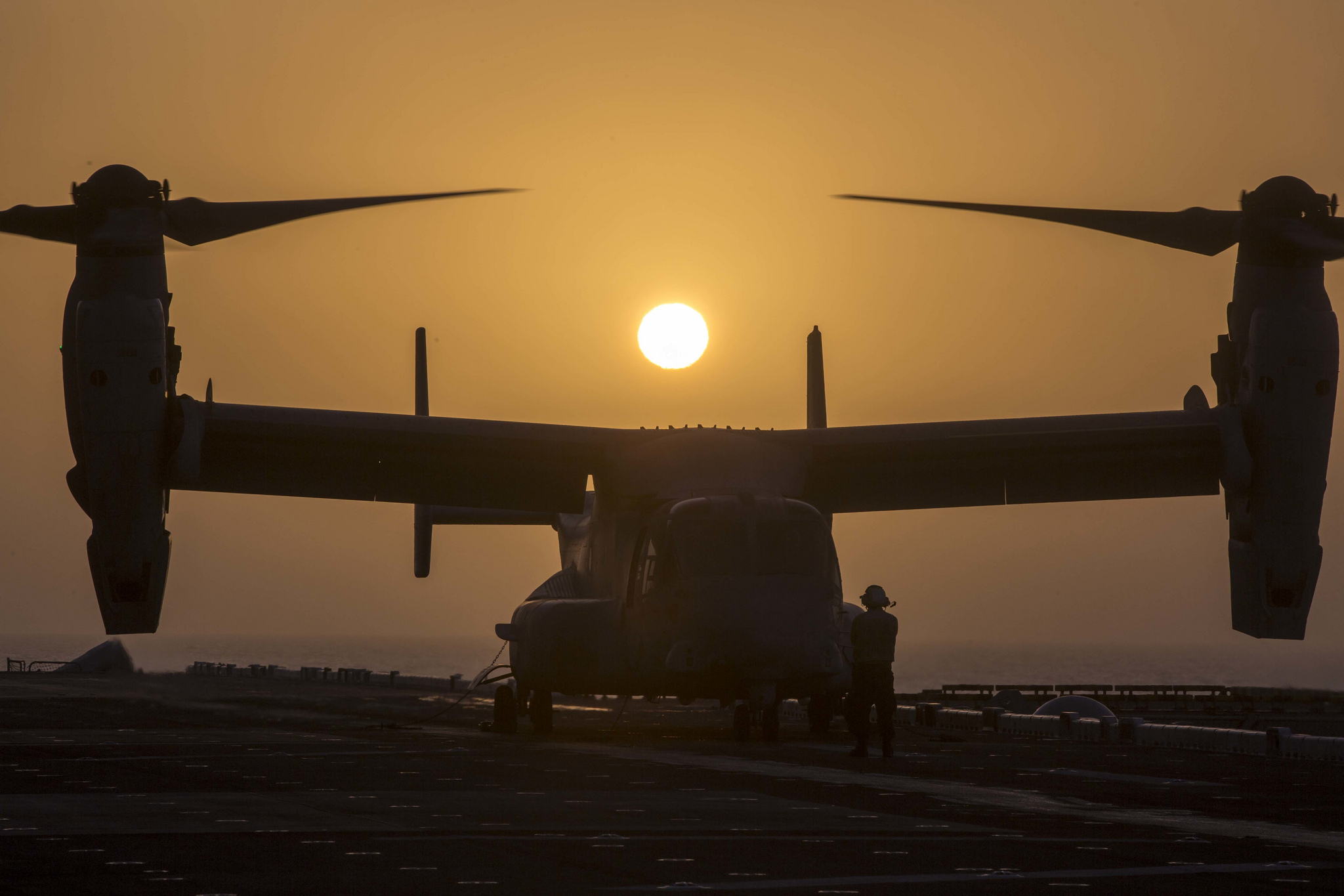 A Marine Corps MV-22B Osprey prepares for takeoff Jan. 5, 2019, while aboard the Wasp-class amphibious assault ship USS Essex (LHD 2) in the Arabian Sea. (Sgt. Francisco J. Diaz Jr./Marine Corps)