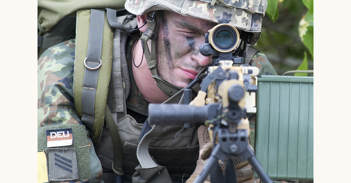 A member of the Rapid Forces Division (DSK) takes part in the Fast Eagle 2018 military evacuation exercise of German armed forces Bundeswehr on September 10, 2018 at Borstel airport, Germany. - In the exercise scenario, the army trains to flow out German nationals out of a crisis area. (KLAUS-DIETMAR GABBERT/AFP/Getty Images)