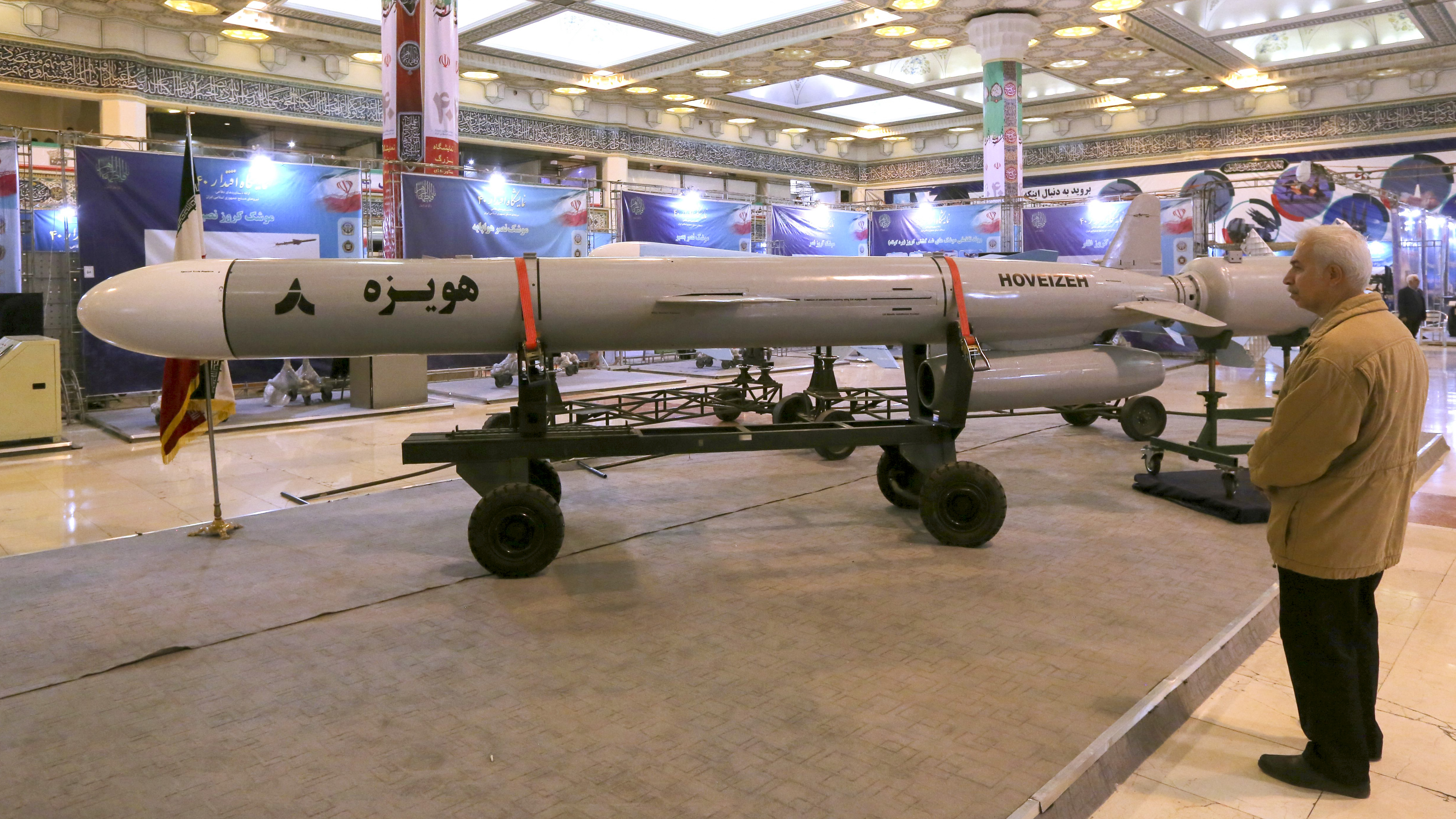 Hoveizeh, Iran's new cruise missile is shown during an exhibition in the capital Tehran on February 2, 2019. - Iran announced the successful test of a new cruise missile with a range of over 1,350 kilometers today, state TV reported. (ATTA KENARE/AFP/Getty Images)