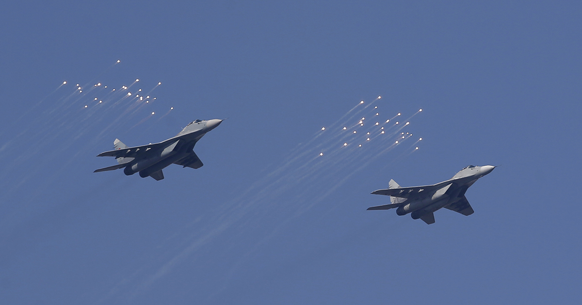 MiG-29 jets of the Serbian Army take flight. The Sudanese Air Force also operates this aircraft. (Darko Vojinovic/AP)