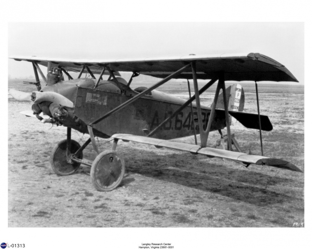 The Army's Sperry M-1 Messenger tested variable-camber wings at Langley in 1926. At the end of WWI, Lawrence Sperry designed and built an inexpensive sport plane, the Sperry Messenger, which could reach 95 miles per hour. (Courtesy of NASA)