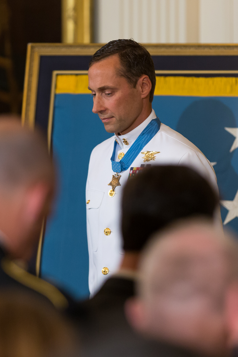 Retired Master Chief Special Warfare Operator Britt Slabinski was awarded the Medal of Honor during a ceremony in the East Room.