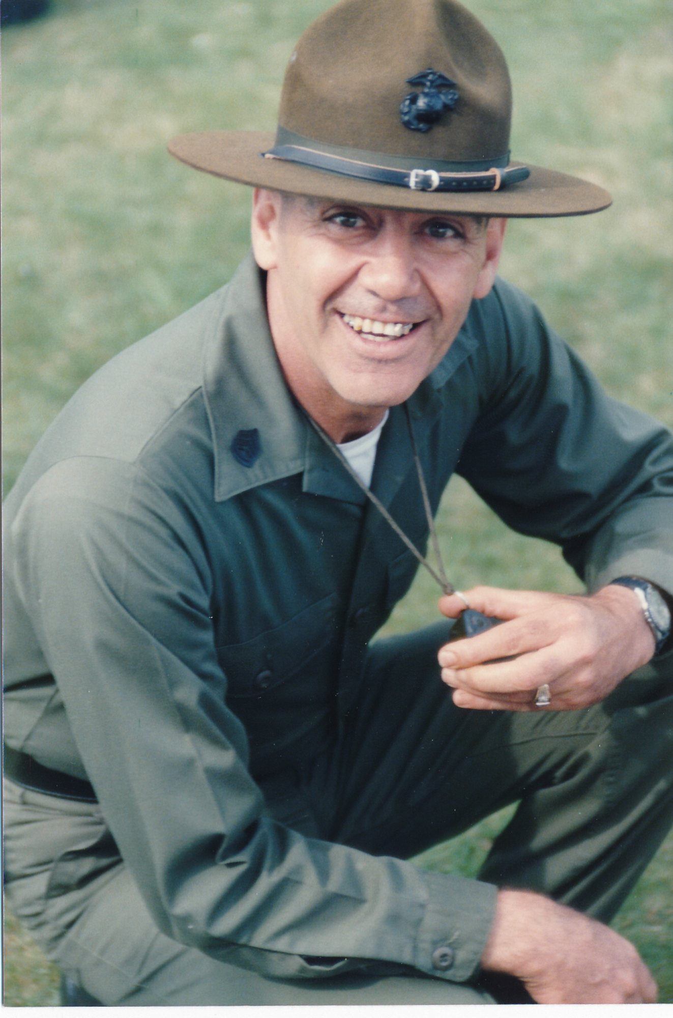 Gunnery Sgt. R. Lee Ermey, on the set of Full Metal Jacket playing the sadistic drill instructor Gunnery Sgt. Hartman. (Photo courtesy R. Lee Ermey's agent Bill Rogin)