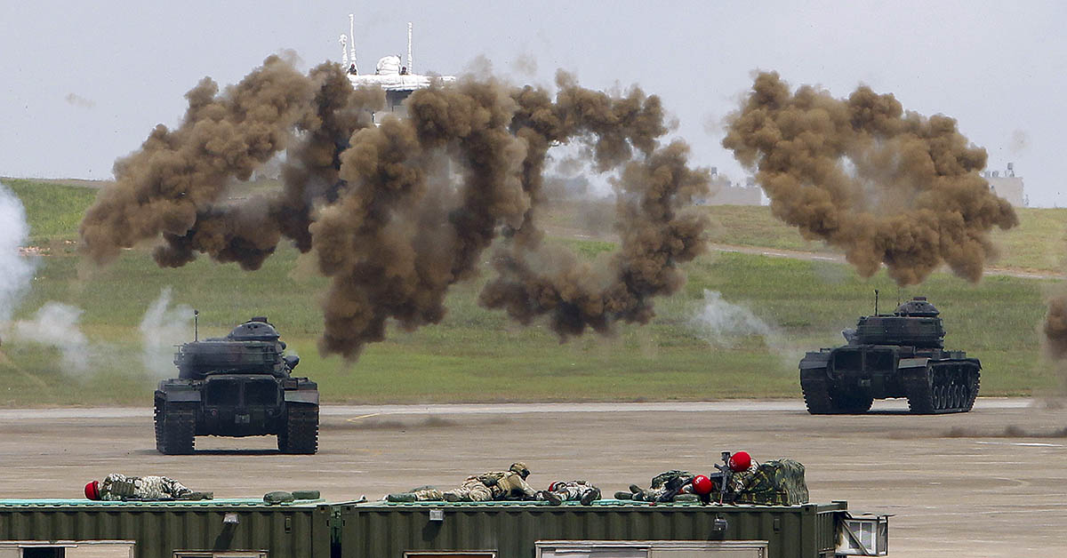 The annual Han Kuang drills take place at an air base in Taichung County, Taiwan, on June 7, 2018. (Chiang Ying-ying/AP)