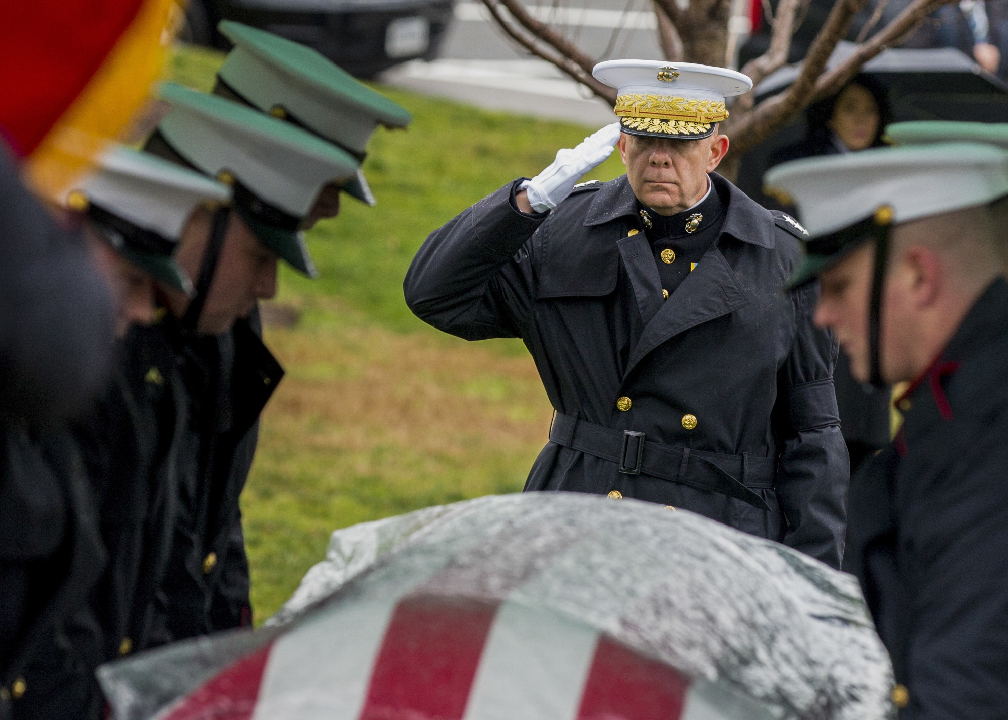 Commandant of the Marine Corps, Gen. David H. Berger salutes the casket of retired 28th Commandant of the Marine Corps Gen. Paul X. Kelley during Kelley's funeral service at Fort Myer Memorial Chapel in Virginia on Feb. 13, 2020. Kelley served as CMC from 1983 to 1987. (Sgt. Daisha R. Johnson/Marine Corps)