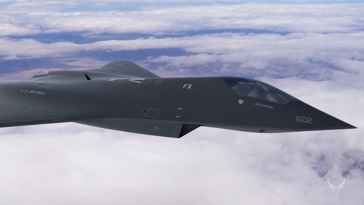 Concept art from the Air Force Research Lab shows a potential next-generation fighter concept, or F-X. (Air Force Research Laboratory)