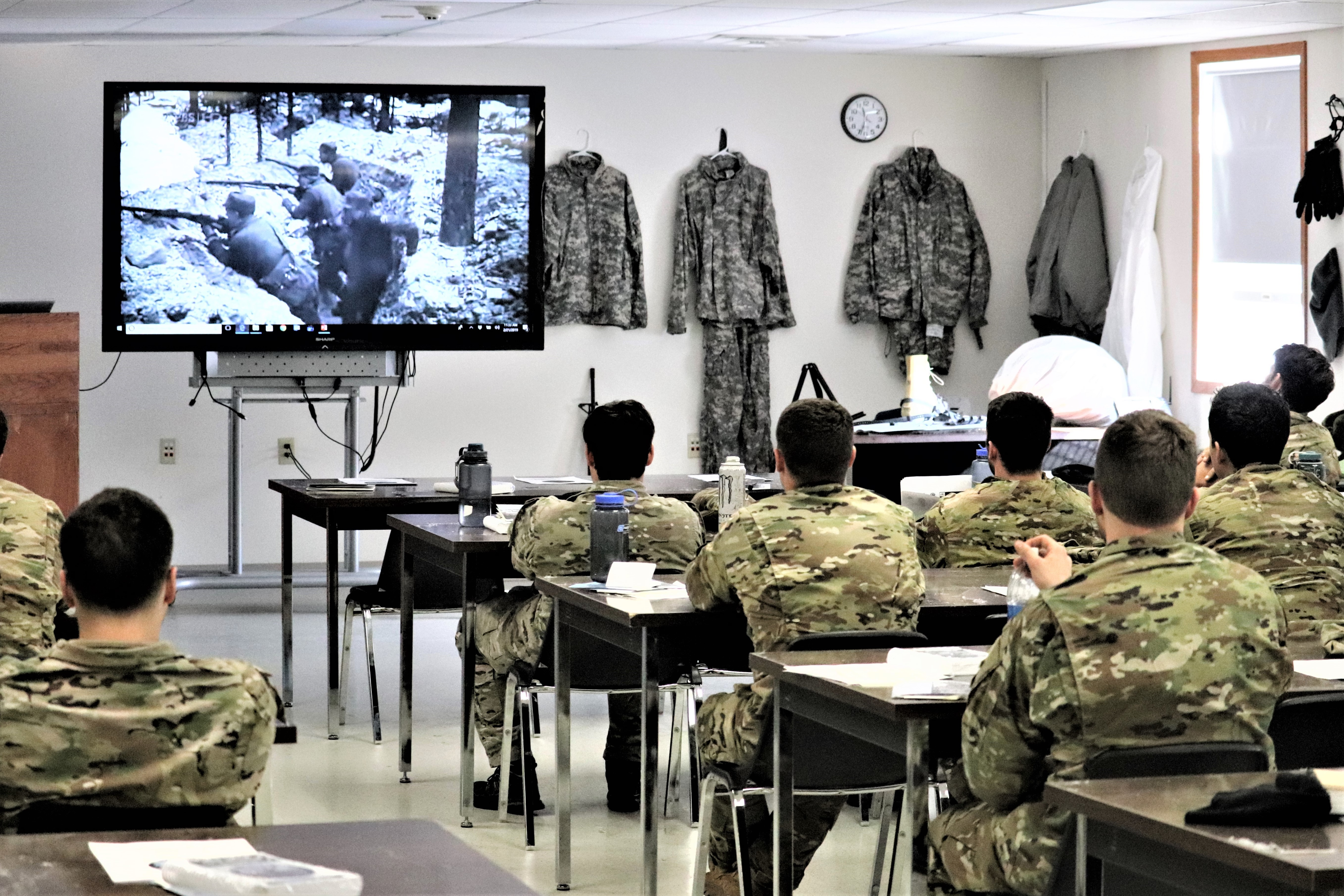 Soldiers watch a training video during classroom training in February 2019 at Fort McCoy in Wisconsin. (Scott T. Sturkol/Army)