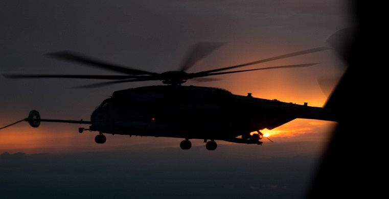 Marine helicopter catches fire, makes emergency landing