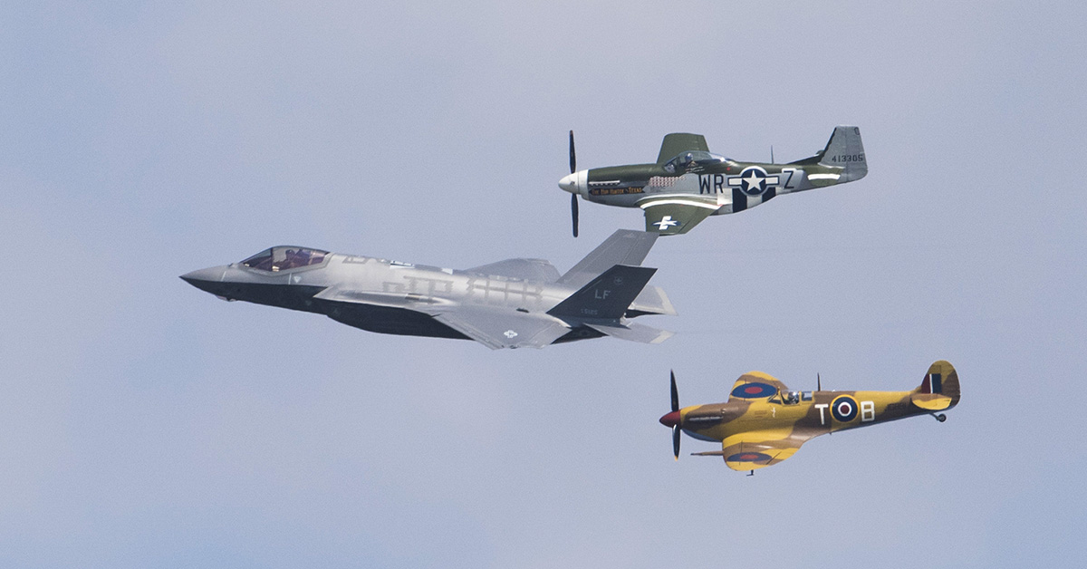 An Air Force F-35A Lightning II, P-51D Mustang and VS Spitfire perform a heritage flight during the 2018 Royal International Air Tattoo at RAF Fairford, United Kingdom. (Tech Sgt. Brian Kimball/Air Force)