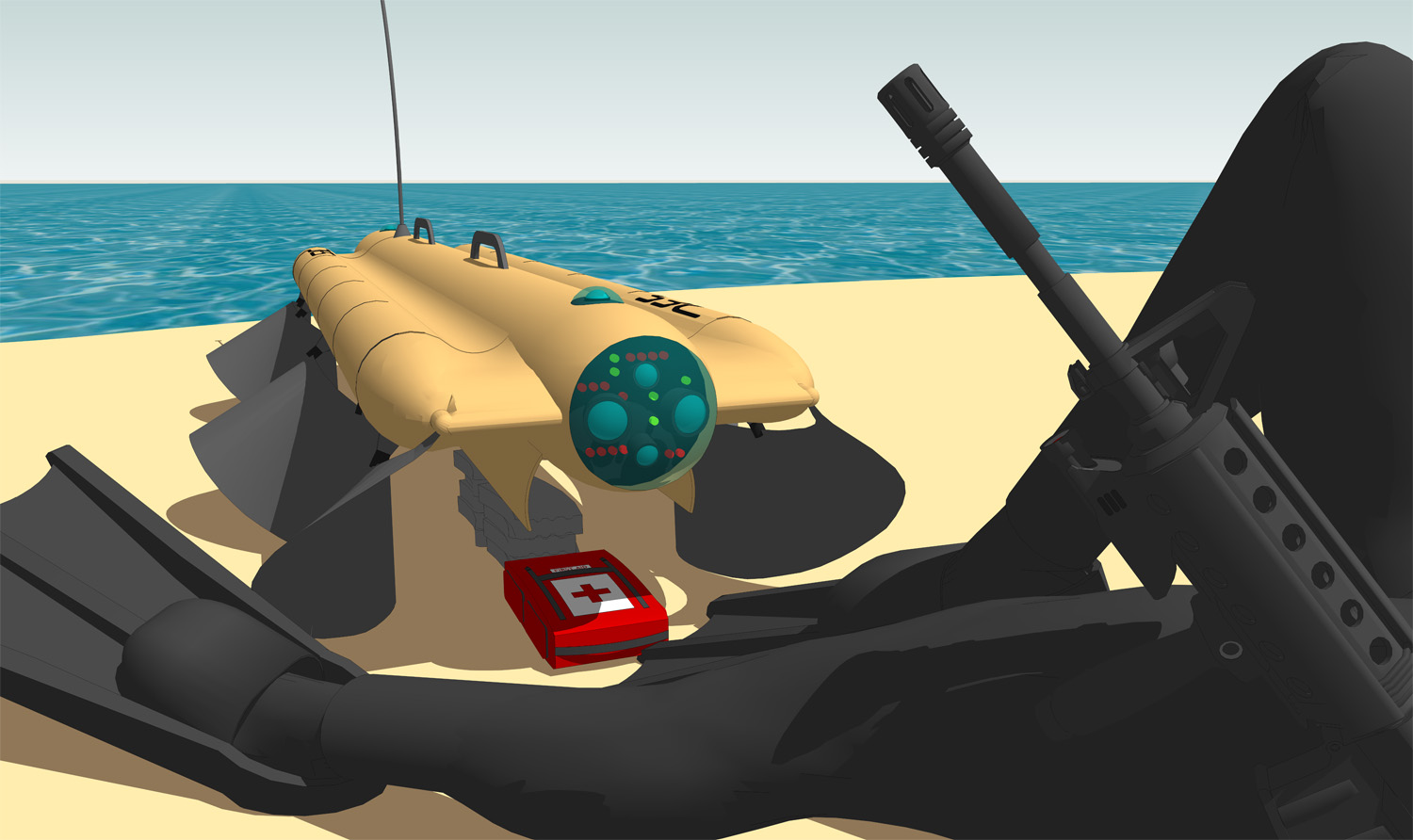 One mission set for the Velox robot could be amphibious resupply, with ammunition and medical supplies carried inside its body. (Pliant Energy Systems)