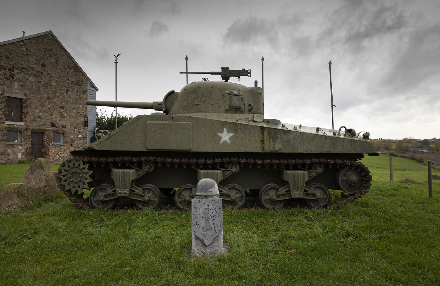 In this photo taken on Thursday, Nov. 7, 2019, A U.S. Army World War II Sherman tank sits on the hillside outside the Remember Museum 39-45 in Thimister-Clermont, Belgium. (Virginia Mayo/AP)